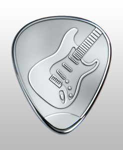 Engraved Silver Guitar Pick with guitar